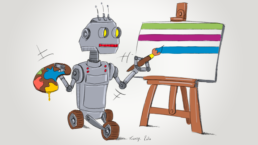 A robot is painting like an artist