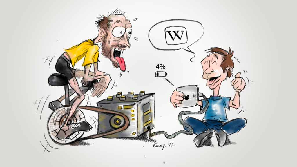 A father use a bicycle to get enough power to read Wikipedia