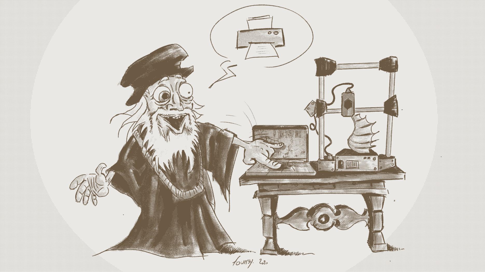 Leornard de Vinci utilisant une imprimante 3D