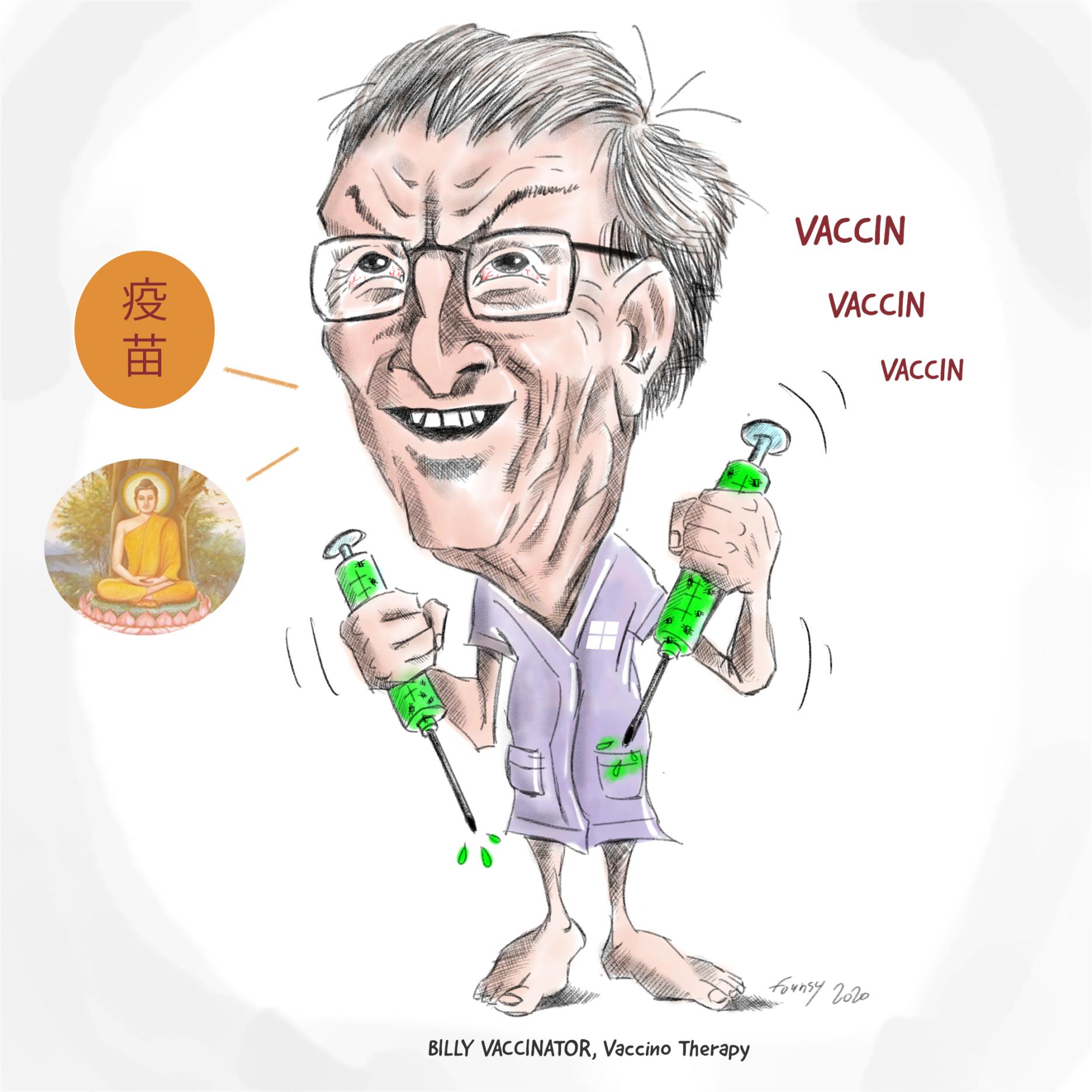 Bill Gates avec des seringues pleines de nano puces!